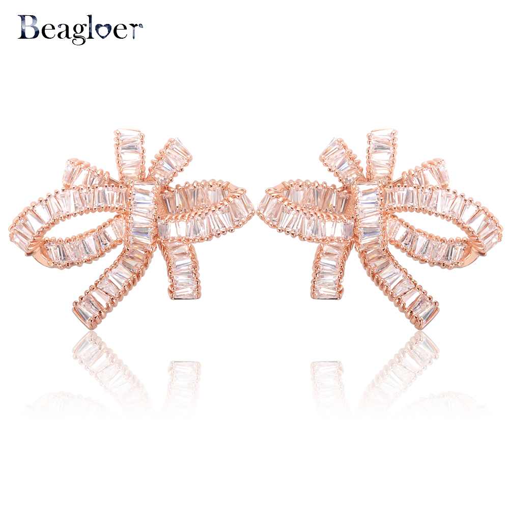 Beagloer Luxury Bow Stud Earrings Rose Gold Color Brilliant Cut Cubic Zircon Earrings Brincos Jewelry CER0513
