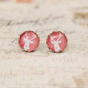 12pairs/lot Pink Tone White Deer Stud Earrings Vintage Small Earrings for Girl Women 10mm rd038