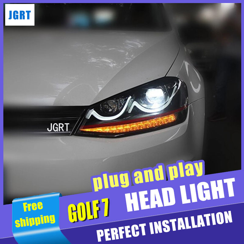 Araba Stil VW Golf7 far montaj 2013-2015 VW Golf 7 led far hid kiti ile flaş dönüş sinyali drl H7 2 adet.