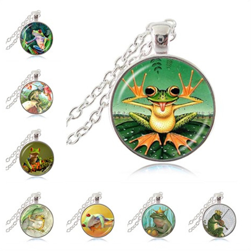 Naughty Cute Frog Necklace Frog on Lotus Leaf Photo Pendant Jungle Animal Jewelry Glass Cabochon Choker Fashion Accessories Gift